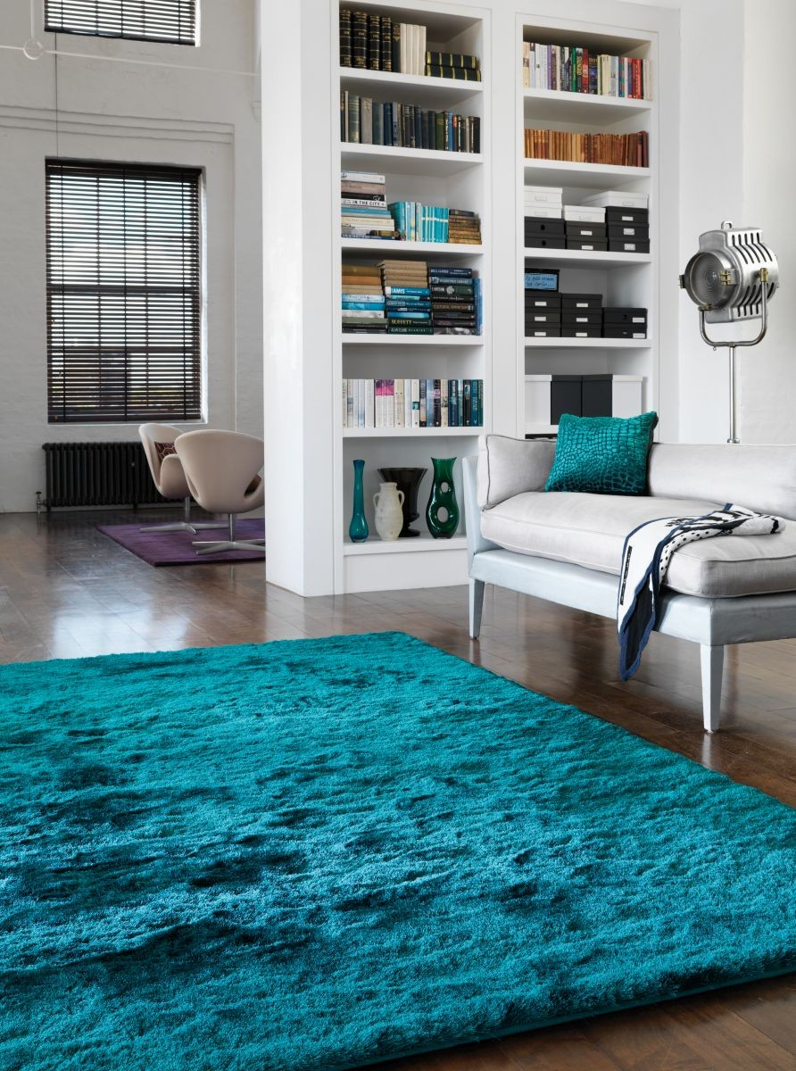 Covor Shaggy Asiatic Whisper Teal 120x180 Turcoaz
