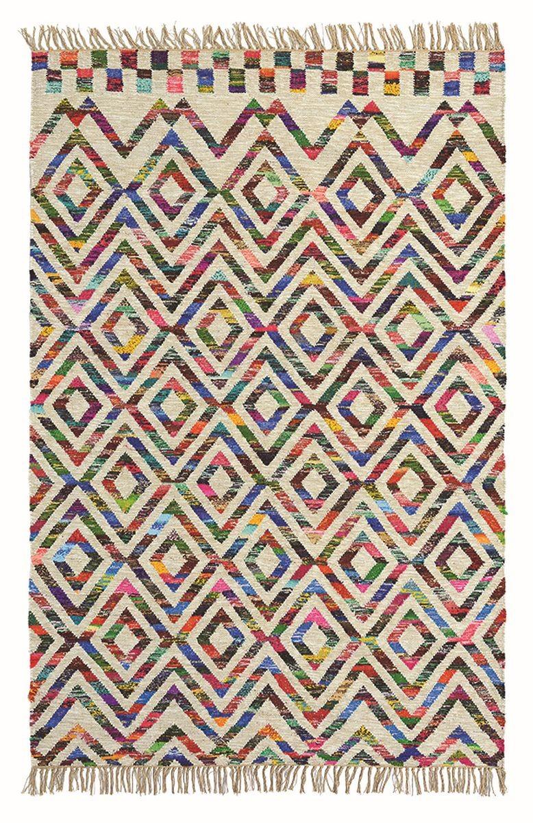 Covor colorat din lana si bumbac , tesut de mana , grosime 12mm,greutate totala 1600gr/mp