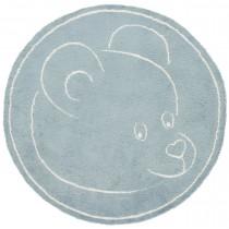Covor bleu din bumbac 100%,  lucrate  mecanic   ,grosime 5 mm,greutate totala 1400gr/mp