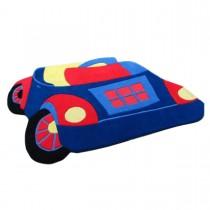 Covor copii albastru din lana 100% Toy Car 85x110