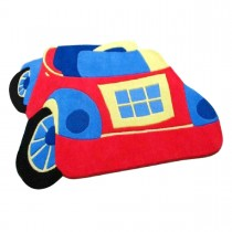 Covor copii rosu din lana 100% Toy Car 85x110