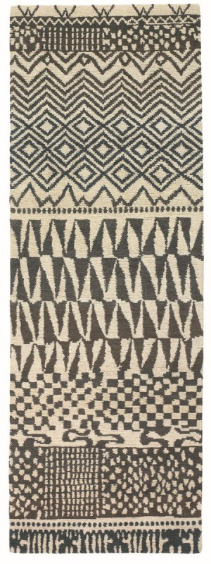 Covor albnegru din lana 100%, lana Tibet innodat manual,grosime 15mm,greutate totala 5200gr/mp
